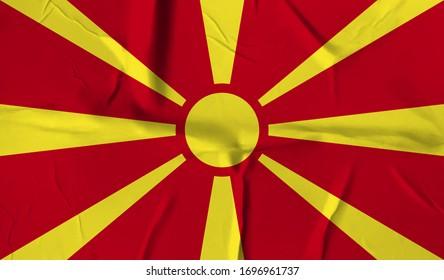 Macedonia  flag on crumpled paper background.