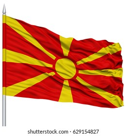 Macedonia Flag on Flagpole , 3D Rendering, Isolated on White Background