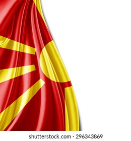 Macedonia flag  of silk with copyspace for your text or images and white background