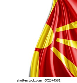 Macedonia flag  of silk with copyspace for your text or images and white background-3D illustration