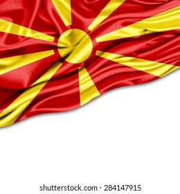 Macedonia flag of silk and white background