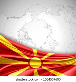 Macedonia flag of silk and world map background-3D illustration