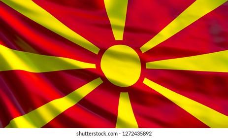 Macedonia flag. Waving flag of Macedonia 3d illustration. Skopje