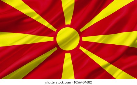 Macedonia flag waving with the wind, 3D illustration.