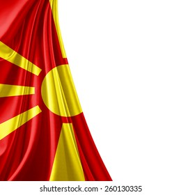 Macedonia flag and white background