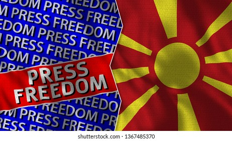 Macedonia and Press Freedom Titles Flag Together - 3D illustration Fabric Texture