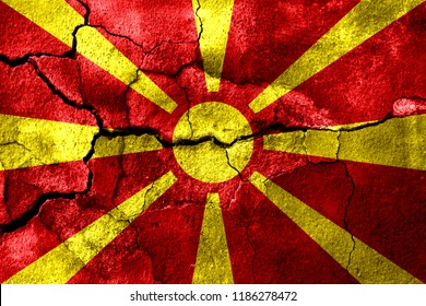 Macedonia rusted texture flag, rusty background, earthquake consequences concept