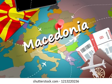 Macedonia travel concept map background with planes, tickets. Visit Macedonia travel and tourism destination concept. Macedonia flag on map. Planes and flights to Macedonian holidays to Skopje,Ohrid