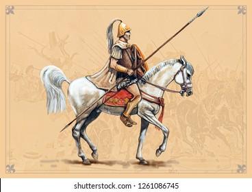 Macedonian rider. Handmade historical illustration.