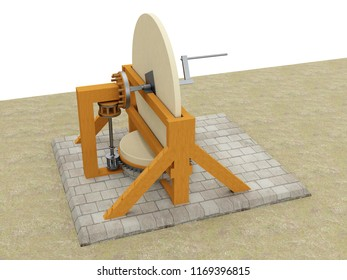 Machine for grinding concave mirrors, Leonardo da Vinci; Codex Atlanticus 0087r. 3D model.