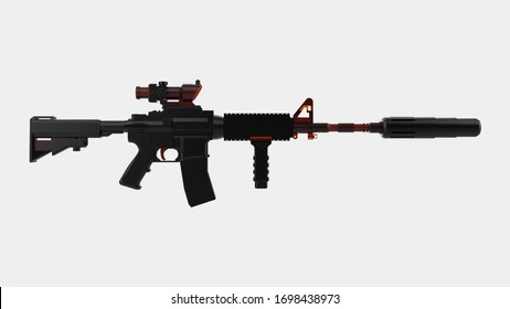 Machine gun isolated on background with mask. 3d rendering - illustration