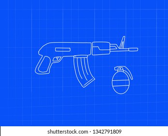 machine gun riffle with grenade blueprint doodle art - image