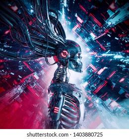 Machine intelligence reaper  3D illustration of metallic science fiction skeleton humanoid cyborg inside futuristic computer core