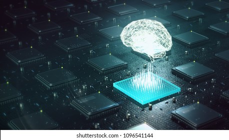 Machine learning , artificial intelligence, ai, deep learning blockchain neural network concept. Brain made with shining wireframe above multiple blockchain cpu on circuit board 3d render.