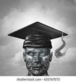 Machine learning and artificial intelligence data programming development as a group of gears shaped as a human engineering or computer science student with a graduation cap as a 3D illustration.