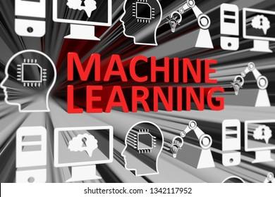 MACHINE LEARNING concept blurred background 3d render illustration