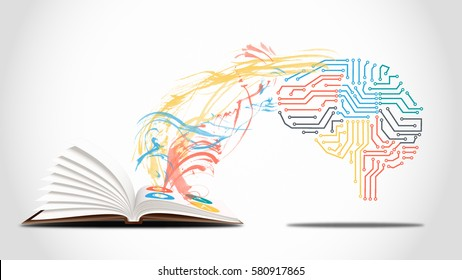 Machine learning concept - a electronic brain is learning from a book