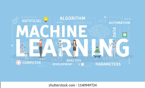 Machine learning concept illustration. New technology for robots.