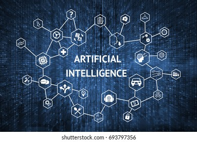 Machine learning , deep learning and artificial intelligence (ai) concept. Matrix coded ,text ,technology icons.