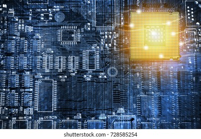 Machine learning , Deep learning and artificial intelligence concept. Ai cpu chipset processor brain connect with Electric circuits graphic and matrix binary coded background. Blue tone image.