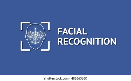 Machine learning systems and accurate facial recognition concept , Face recognition blue social media icon and texts with blue background