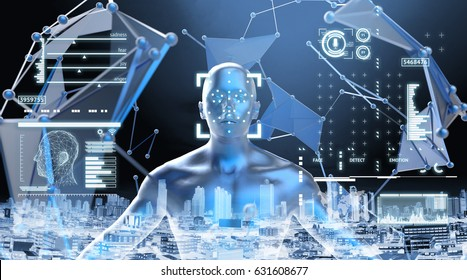 Machine learning systems , accurate facial recognition biometric technology and artificial intelligence deep learning concept. 3D Rendering of Man face and dots connect with city background.