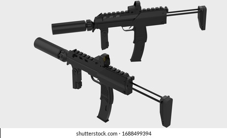 Machine-gun isolated on background. 3d rendering - illustration