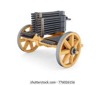 Machine-gun, Leonardo da Vinci; Codex Atlanticus 0977r. 3D model.