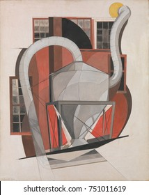 MACHINERY, by Charles Demuth, 1920, American painting, gouache, and graphite on cardboard. This work is based on industrial architecture in Demuths hometown of Lancaster, Pennsylvania. Minimally abstr