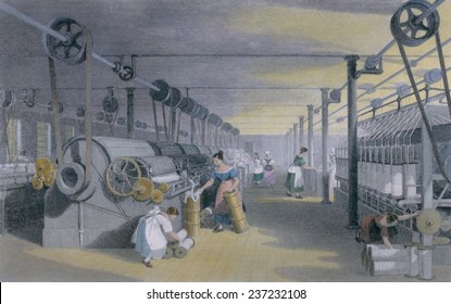 Machines making cotton thread by performing mechanical versions of carding drawing and roving in a mill in Lancashire England ca 1835 Engraving with modern watercolor.