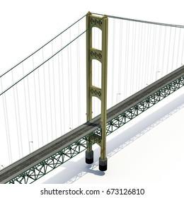 Mackinac Bridge Isolated on white. 3D illustration