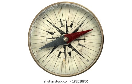 A macro closeup of a vintage compass made of copper with a scratched glass on an isolated white background