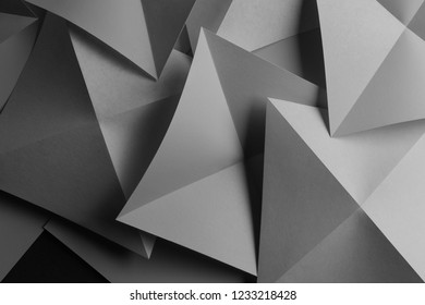 Macro image of composition with gray geometric shapes, 3d illustration