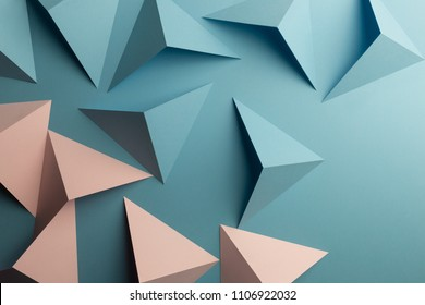 Macro image of folded cards in geometric shapes, 3d illustration, abstract background