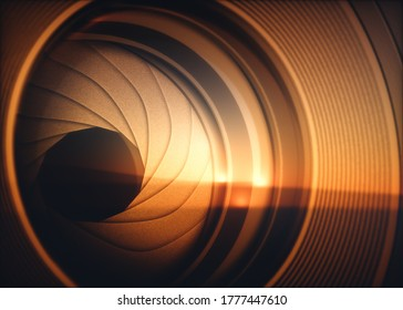 Macro photography from inside an objective lens and its details like the diaphragm blades. Reflection of the sky in the camera lens. 3D illustration.