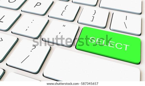 Macro shot of white computer keyboard and green select key. Conceptual 3D rendering