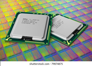 Macro view of modern CPUs on silicon wafer with processor cores. Shallow DOF effect