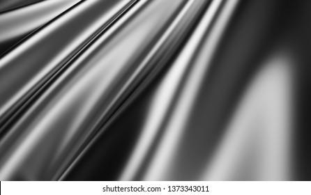 Macro View on Rippled Black Silk Fabric. 3D rendering