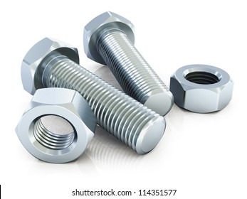 Macro view of shiny metal bolts and nuts isolated on white background with reflection effect