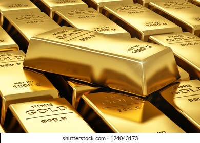 Macro view of stacks of gold bars
