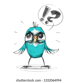 Mad blue cartoon budgerigar is angry and demands answers