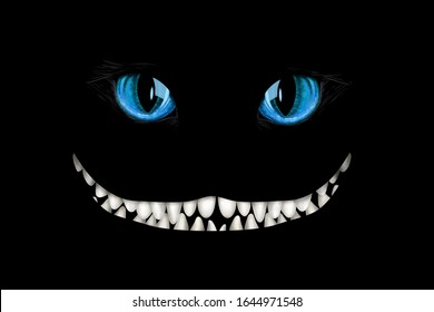 Mad cheshire smile and eyes on black background. Deco element, card-, flyer- base, clip art