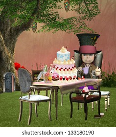 The mad hatter banquet illustration inspired by Alice in wonderland fairytale