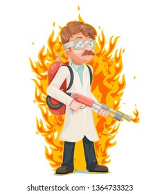 Mad scientist flamethrower cleansing purification by fire destruction science cartoon character  illustration