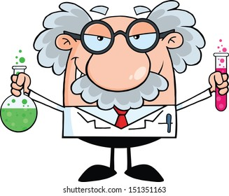 Mad Scientist Or Professor Holding A Bottle And Flask With Fluids. Raster Illustration