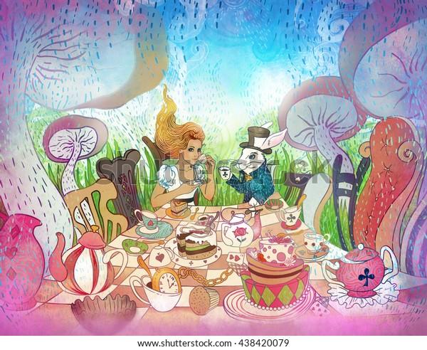 マッドティーパーティー アリスの冒険は不思議の国のイラスト 白うさぎの女の子は大きなキノコの下のカップから飲む ワンダーランド式のパーティーの招待 はがき ポスター おとぎ話のデザイン のイラスト素材