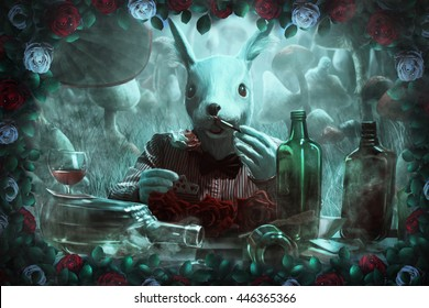 "mad white rabbit, white and red roses,mushrooms and fog. illustration to the fairy tale ""Alice in Wonderland"""