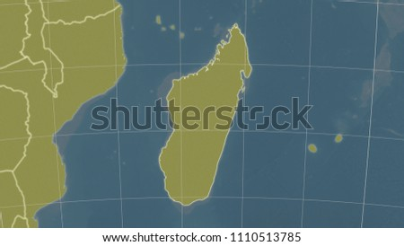 Topographic Map Of Madagascar.Royalty Free Stock Illustration Of Madagascar Area Map Azimuthal