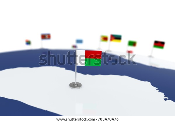 Madagascar flag. Country flag with chrome flagpole on the world map with neighbors countries borders. 3d illustration rendering flag