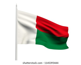 Madagascar flag floating in the wind with a White sky background. 3D illustration.